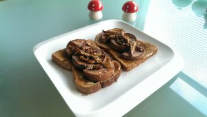 Oyster Mushrooms and Polony Sausage on Toast